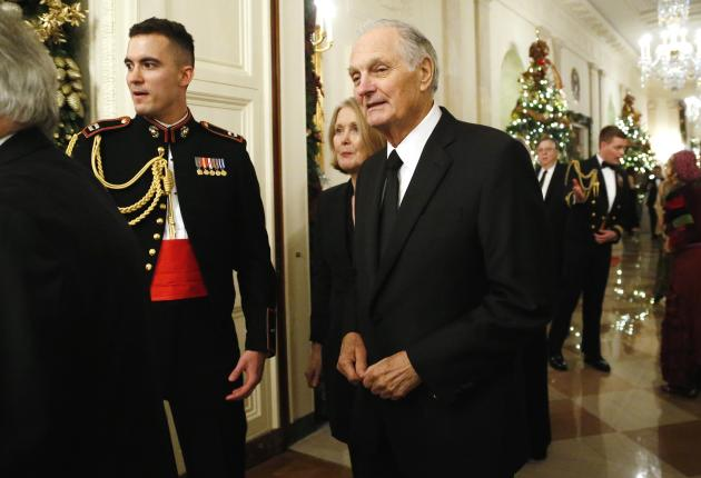 Actor Alda arrives for a reception for the Kennedy Center Honors recipients at the White House in Washington