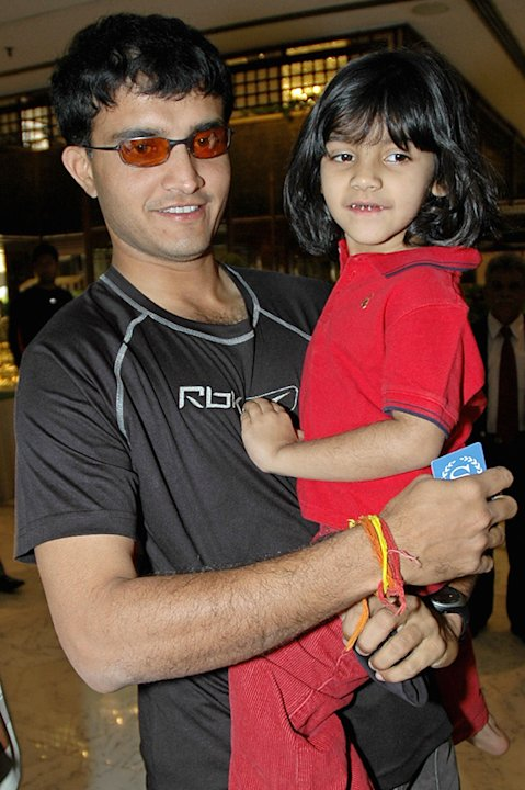 Indian cricketer Sourav Ganguly holds hi