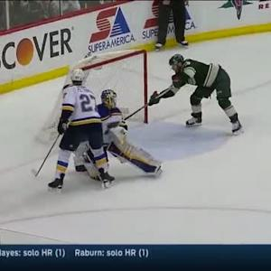 Parise sets up Pominville for a tap in