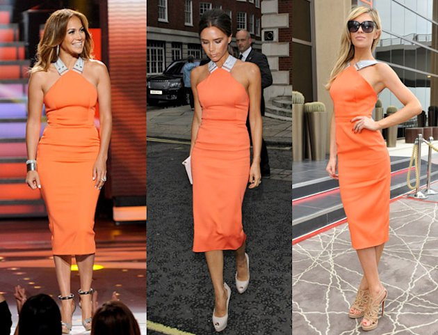 Victoria Beckham Repeats Tangerine Dress Already Worn By Jennifer Lopez and Abbey Clancy
