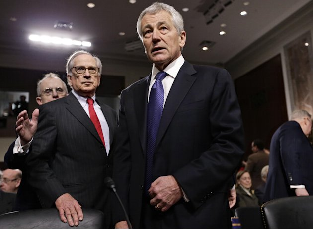 Republican Chuck Hagel, a former two-term senator and President Obama's choice to lead the Pentagon, arrives at the Senate Armed Services Committee for his confirmation hearing, on Capitol Hill in Was