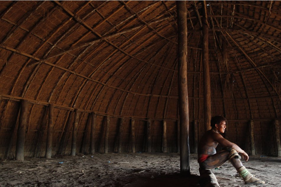 A Yawalapiti wrestler rests in the Xingu National Park