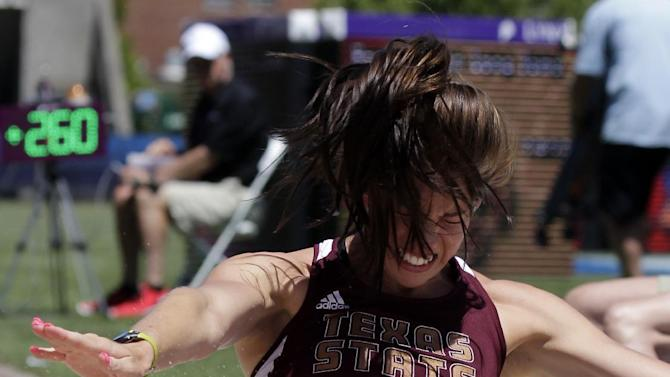 Texas State's Danessa Lyssy competes in the heptathlon long jump during the NCAA Track and Field Championships in Eugene, Ore., Friday, June 7, 2013. (AP Photo/Don Ryan)