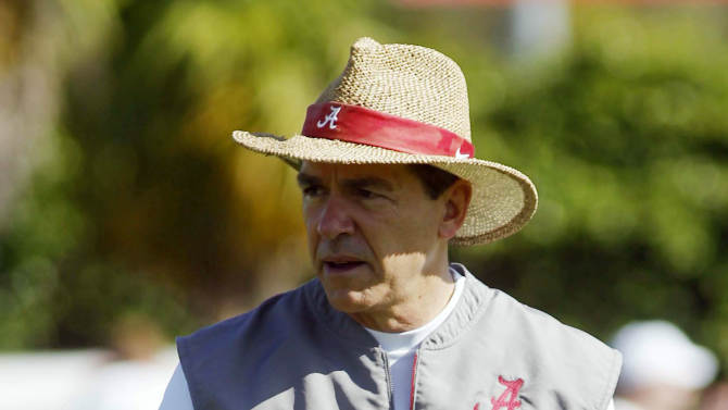 Alabama head coach Nick Saban watches the team during practice at Barry University in Miami Shores, Fla., Thursday, Jan. 3 2013. Alabama is scheduled to play Notre Dame on Monday, Jan. 7, in the BCS national championship NCAA college football game. (AP Photo/Marta Lavandier)