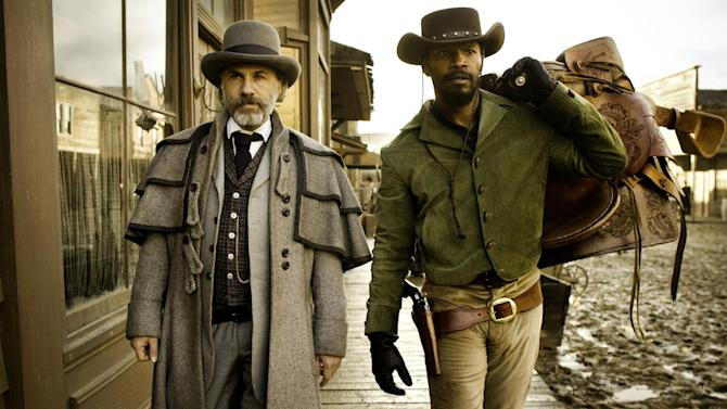 "FILE - This undated publicity file image released by The Weinstein Company shows, from left, Christoph Waltz as Schultz and Jamie Foxx as Django in the film ""Django Unchained,"" directed by Quentin Tarantino. MTV announced Tuesday, March 5, 2013, that ""Django Unchained"" and ""Ted"" each have seven bids at the annual MTV Movie Awards set to air live on April 14 from the Sony Pictures lot in Culver City, Calif.  (AP Photo/The Weinstein Company, Andrew Cooper, SMPSP, File)"
