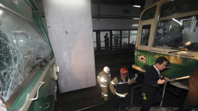 Seoul subway trains crash, scores injured lightly