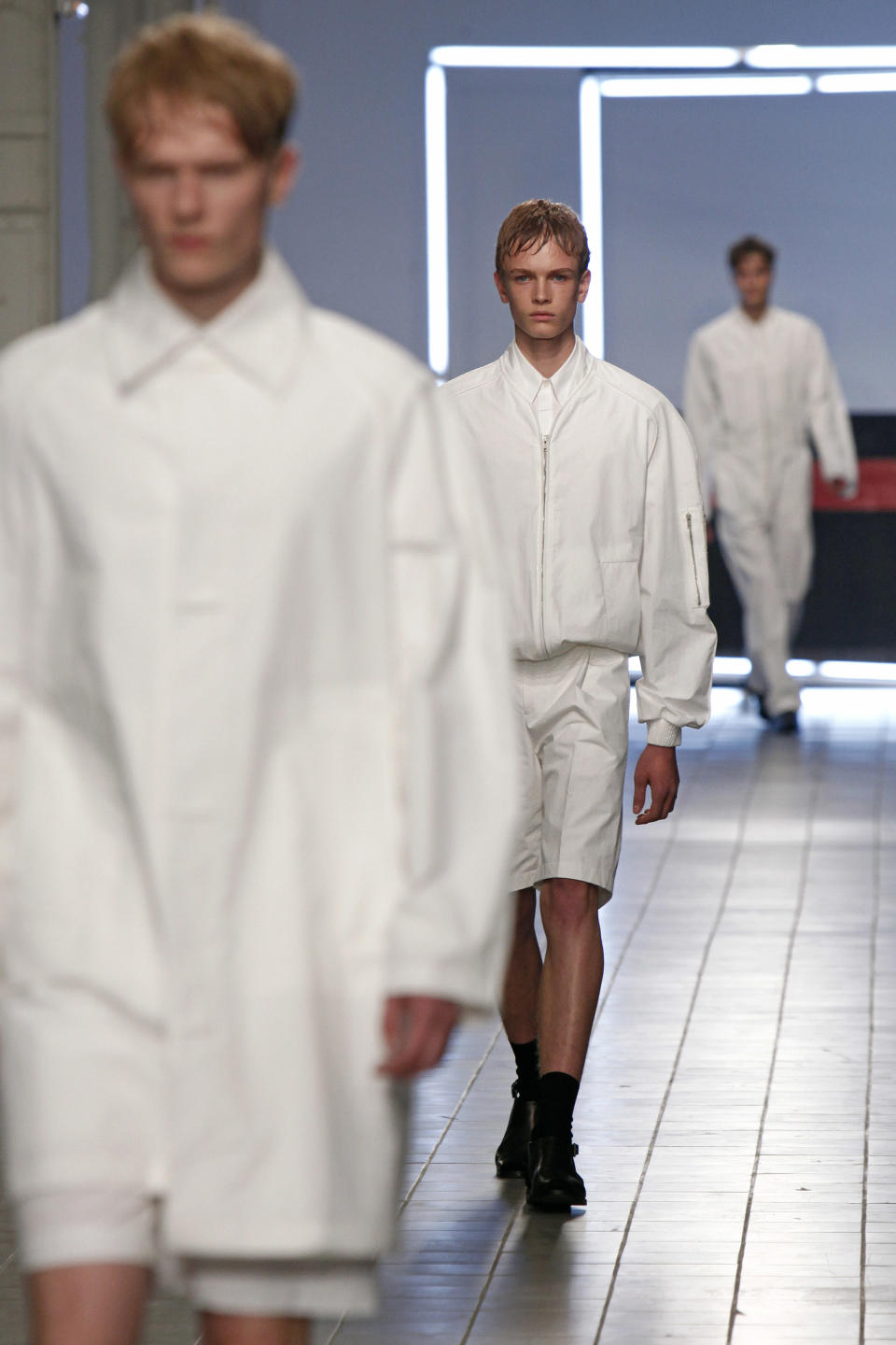 Models present creations by German fashion designer Damir Doma as part of his men's fashion Spring-Summer 2014 collection, presented Saturday, June 29, 2013 in Paris. (AP Photo/Thibault Camus)