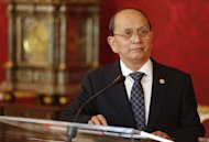 The President of Myanmar Thein Sein speaks to the press after his meeting with the Austrian President on March 4, 2013 in Vienna, Austria. Thein Sein appealed Monday for the lifting of European Union sanctions against his country, currently suspended