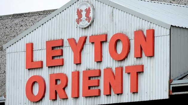 General view of a a sign saying Leyton Orient above one of the stands at the Matchroom Stadium