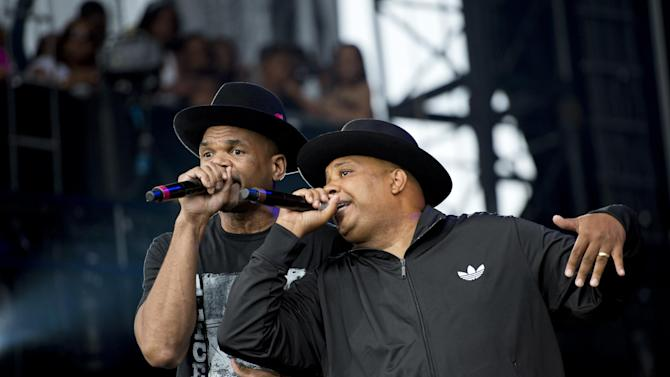 """Run DMC performing at the """"Made In America"""" music festival on Sunday Sept. 2, 2012, in Philadelphia. (Photo by Drew Gurian/Invision/AP)"""