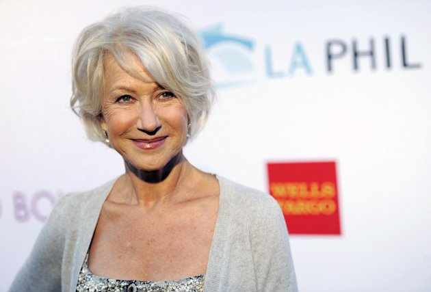 FILE - In this June 17, 2011 file photo, actress Helen Mirren poses at the opening of the 90th season of the Hollywood Bowl in Los Angeles. Gray heads have been popping up on runways and red carpets, on models and young celebrities for months. There&#39;s Lady Gaga and Kelly Osbourne _ via dye _ and Hollywood royalty like Oscar-winning British actress Helen Mirren. (AP Photo/Chris Pizzello, file)