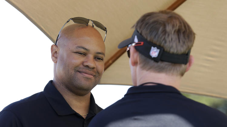 Stanford head coach David Shaw smiles during pro day for NFL football representatives in Stanford, Calif., Thursday, March 20, 2014. (AP Photo/Jeff Chiu)