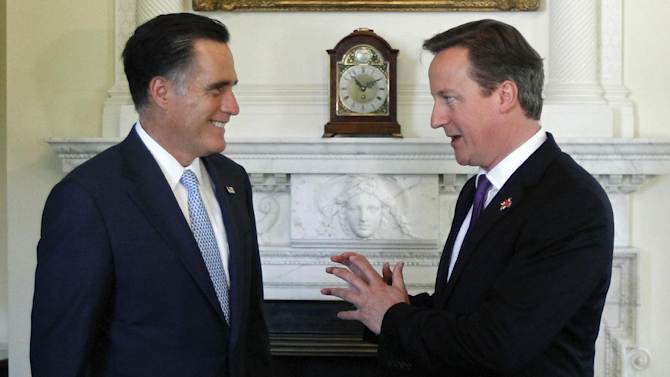 Republican presidential candidate, former Massachusetts Gov. Mitt Romney meets with British Prime Minister David Cameron at 10 Downing Street†in London, Thursday, July 26, 2012. (AP Photo/Charles Dharapak)