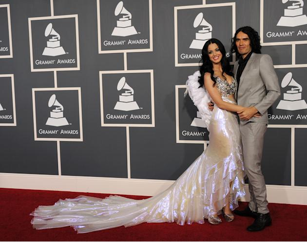 Russell and Katy in silver-toned garb