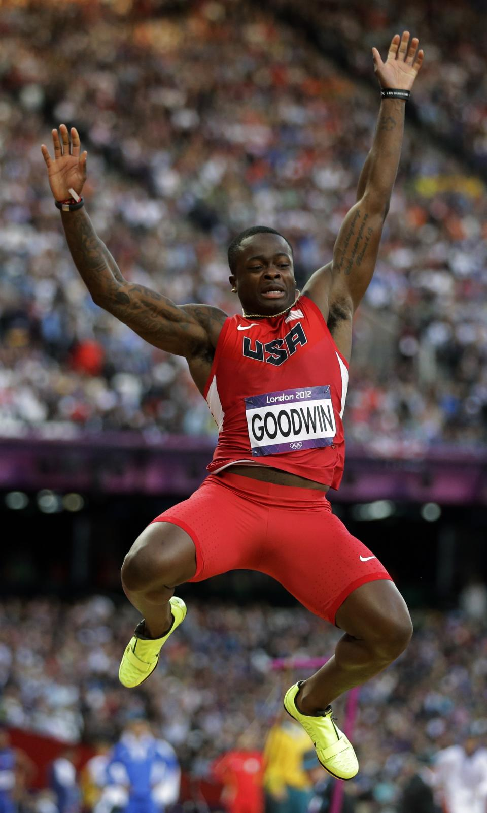 United States' Marquise Goodwin makes an attempt during the mens long jump qualification at the athletics competition in the Olympic Stadium at the 2012 Summer Olympics, Friday, Aug. 3, 2012, in London. (AP Photo/David J. Phillip )