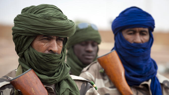 FILE - This picture provided by the French Army Communications Audiovisual office (ECPAD) and released Monday Jan. 28, 2013 shows Chadian soldiers securing Gao airport, north of Mali, Saturday, Jan. 26, 2013.  A presidential spokesman says that Chadian President Idriss Deby announced Friday March 1 2013 that Chadian troops fighting to dislodge an al-Qaida affiliate in northern Mali killed one of the group's leading commanders, Abou Zeid.  He is a leader of al-Qaida in the Islamic Maghreb and was behind the kidnapping of several Westerners. (AP Photo/Ghislain Mariette, EMA-ECPAD, file)