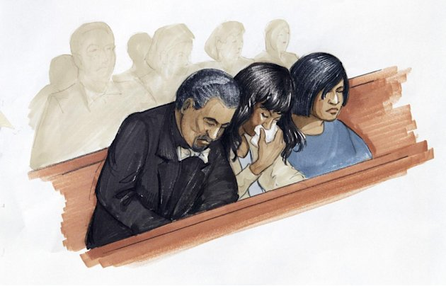 In this courtroom sketch, singer and actress Jennifer Hudson, center, along with her fiance David Otunga, and sister Julia Hudson react in court in Chicago, Friday, May 11, 2012, after a jury convicte