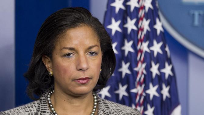 FILE - National Security Adviser Susan Rice listens to reporters questions during a briefing on President Barack Obama's upcoming trip to  to Europe and Saudi Arabia, in this March 21, 2014 file photo taken in the Brady Press Briefing Room of the White House in Washington. President Barack Obama will call on fellow world leaders next week to back a United Nations resolution calling on nations to stem the flow of foreign fighters joining terrorist organizations like the Islamic State, as the United States seeks to build legitimacy for its military campaign in Iraq and Syria, the White House said Friday Sept. 19, 2014. Rice, said she expects unanimous approval in the U.N. Security Council. (AP Photo/Manuel Balce Ceneta, File)