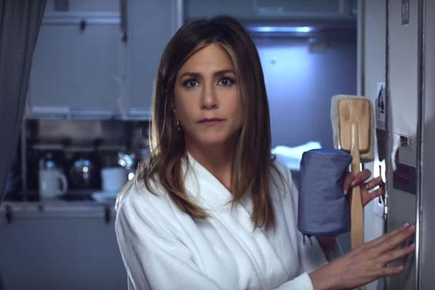 Jennifer Aniston Wanders Airplane in Bathrobe in Commercial Dissing U.S. Airlines (Video)