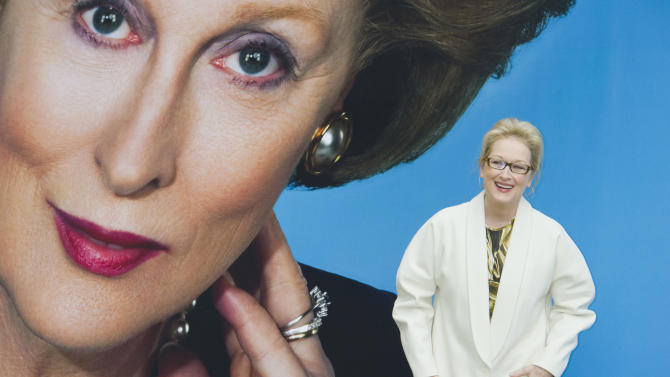U.S actress Meryl Streep attends a photocall for 'The Iron Lady' at a central London venue, Monday, Nov. 14, 2011. (AP Photo/Jonathan Short)