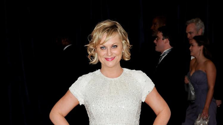"Actress Amy Poehler from the NBC series ""Parks and Recreation"" attends the White House Correspondents' Dinner at the Washington Hilton on Saturday April 27, 2013 in Washington. (Photo by Evan Agostini/Invision/AP)"
