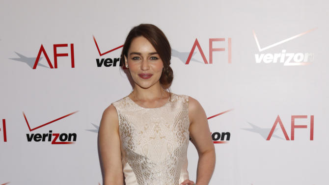 Emilia Clarke attends the 13th Annual AFI Awards Luncheon at the Four Seasons Hotel Los Angeles at Beverly Hills on Friday, January 11, 2013 in Los Angeles. (Photo by Todd Williamson/Invision/AP)