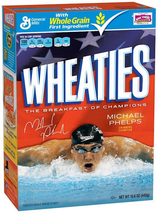 This image provided by General Mills shows a limited-edition box of Wheaties featuring Michael Phelps that was unveiled, Thursday, Aug. 16, 2012. With another six Olympic medals around his neck, swimm