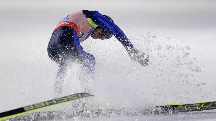 Matura of Czech Republic crashes after landing his second round jump of the Ski Flying World Championship in Harrachov