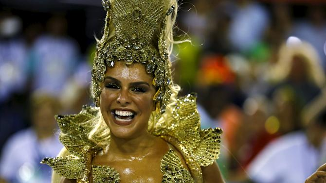 Grande Rio samba school's Drum Queen Paloma Bernardi performs during the carnival parade at the Sambadrome in Rio de Janeiro