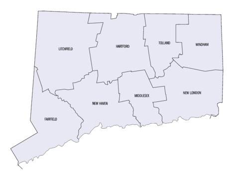 Connecticut county map