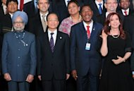 <p>(L-R) Indian Prime Minister Manmohan Singh, China's Premier of the State Council Wen Jiabao, Benin's President Boni Yayi and Argentina's President Cristina Fernandez de Kirchner at the UN Conference on Sustainable Development Rio+20, in Rio de Janeiro, Brazil.</p>