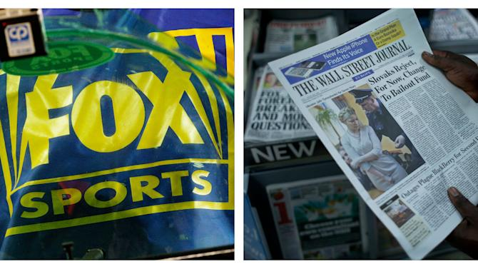 FILE- This combination of Associated Press file photos show a Fox Sports logo, left, and a person holding a copy of a Wall Street Journal, right. Rupert Murdoch's News Corp. said Thursday, June 28, 2012, that it plans to split into two separate companies, one holding its newspaper business and the other its entertainment operations. (AP Photo/Ross D. Franklin, Matt Dunham, File)