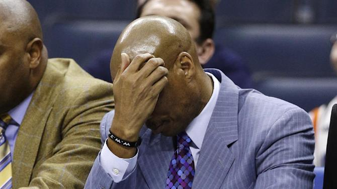 Cleveland Cavaliers head coach Byron Scott reacts after a turnover during the second half of an NBA basketball game against the Charlotte Bobcats in Charlotte, N.C., Wednesday, April 17, 2013. The Bobcats won 105-98. (AP Photo/Chuck Burton)
