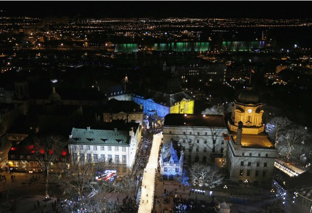 Competitors skate during Red Bull Crashed Ice competition in Quebec City