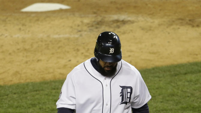 Detroit Tigers' Prince Fielder walks back to the dugout after striking out during the fourth inning of Game 3 of baseball's World Series against the San Francisco Giants Saturday, Oct. 27, 2012, in Detroit. (AP Photo/Patrick Semansky)