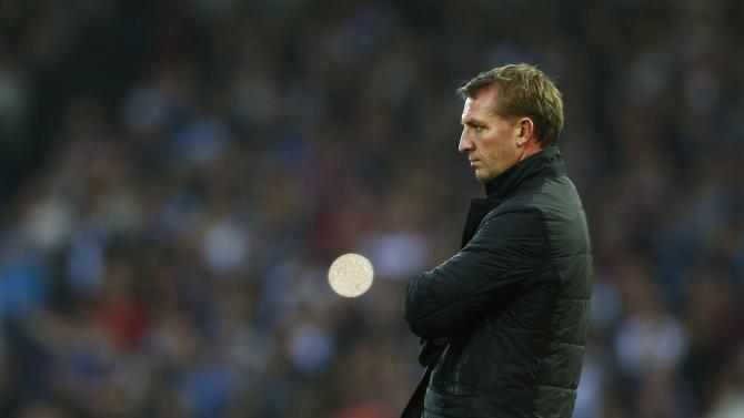 Liverpool manager Rodgers reacts during their English Premier League soccer match against West Ham United at the Boleyn Ground in London