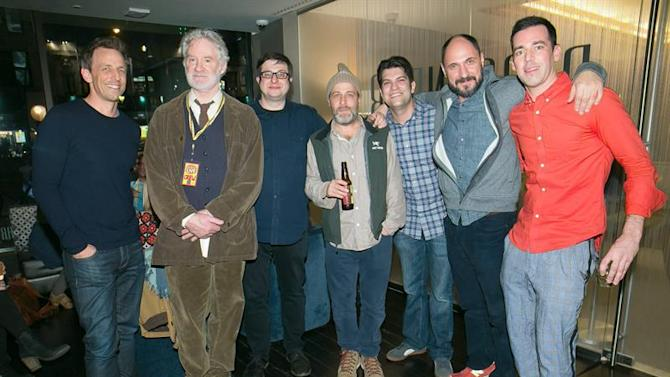 . New York City (United States), 28/03/2015.- (L-R) US comedians Seth Myers, Kevin Kline, Eugene Mirman, H. Jon Benjamin, Dan Mintz, Loren Bouchard and John Roberts attend the Bob's Burgers live comedy show at the Beacon Theater in New York City, New York, USA, 27 March 2015. (Estados Unidos) EFE/EPA/BEN HIDER