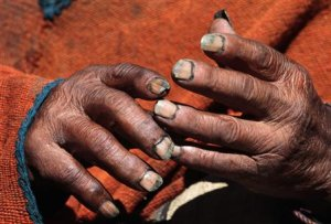Aymara Indian Flores' hands are pictured during an …