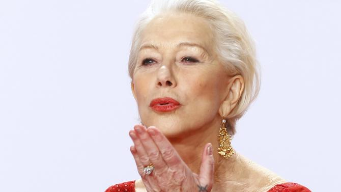 Actor Mirren arrives on red carpet for Golden Camera awards ceremony in Hamburg