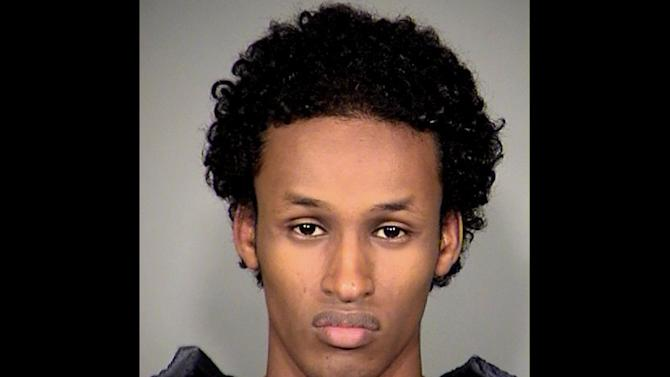 FILE - This file image released Nov. 27, 2010, by the Multnomah County Sheriff's Office shows Mohamed Osman Mohamud.  An attorney for Mohamed Osman Mohamud,a terrorism suspect,  tried to draw into question the accuracy and selectiveness of the written records made by an FBI agent who headed up the undercover investigation into her client on Wednesday, Jan. 23, 2013. The records are crucial to establishing the initial face-to-face contact between the suspect, Mohamed Mohamud, and an undercover agent posing as a jihadi. The FBI has said the undercover agent attempted to tape-record the original face-to-face meeting with Mohamud on July 30, 2010, but the battery in his recording device failed. (AP Photo/Multnomah County Sheriff's Office, file)