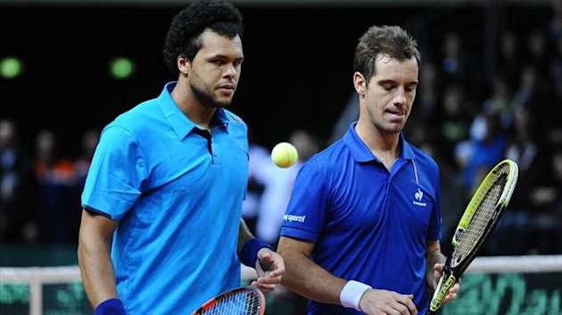 France's top two tennis stars Richard Gasquet and Jo-Wilfried Tsonga in Davis Cup action together