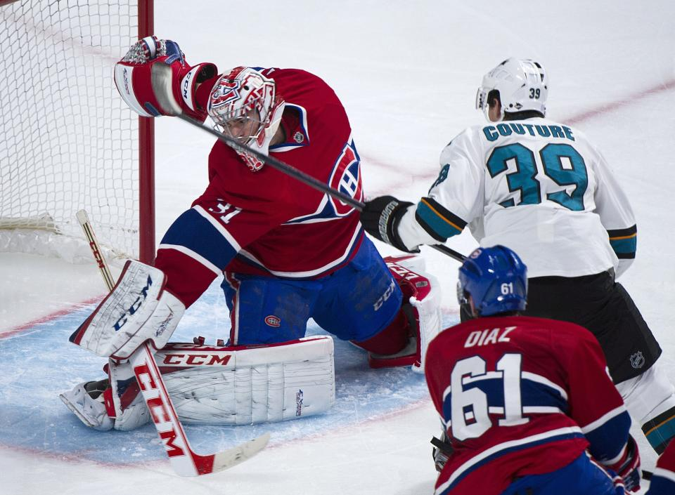 Niemi, Couture lead Sharks past Canadiens 2-0
