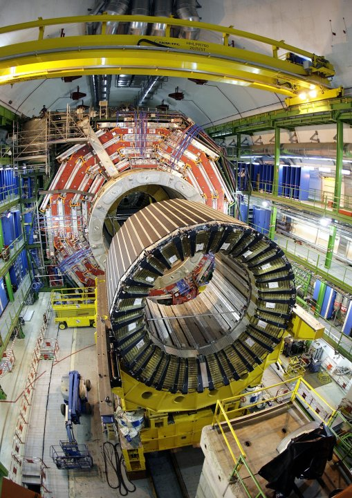 FILE - This Thursday, March 22, 2007 file photo shows the magnet core of the world's largest superconducting solenoid magnet (CMS, Compact Muon Solenoid) at the European Organization for Nuclear Resea