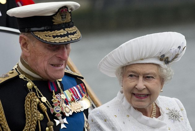 Britain's Queen  Elizabeth and Prince Philip leave from Chelsea Harbour in London on a launch on the first part of their journey in the Diamond Jubilee River Pageant Sunday June 3, 2012 . More tha