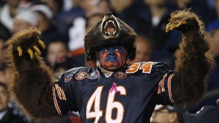 A Chicago Bears fan reacts in the stands during game between the Bears and the Detroit Lions in the first half of their NFL football game in Chicago