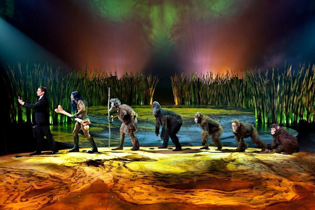 This undated theater image released by Cirque du Soleil shows a scene from Totem, a show that traces the journey of the human species from its original amphibian state. The show will open March 14 at Citi Field, home of the New York Mets. (AP Photo/Cirque du Soleil)