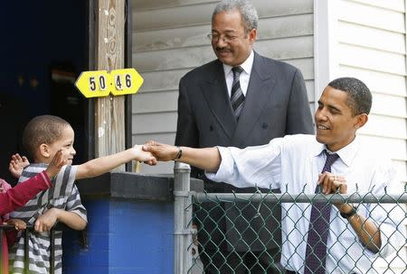 US Democratic presidential candidate Sen. Obama is joined by Philadelphia congressman Fattah as he campaigns in Philadelphia