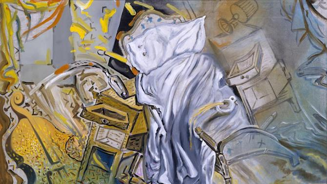 """In this handout photo of the Salvador Dali painting """"Bed and Two Bedside Tables Ferociously Attacking a Cello"""", it is one of 12 works loaned for a temporary exhibit to the Salvador Dali Museum in St. Petersburg, Fla., from the National Collection of Modern Art in Spain. The work, along with 11 others, is on display at the Florida museum until March 31, 2013 in a show called """"The Royal Inheritance: Dalì Works From the Spanish National Collection."""" The paintings, which span from 1918 to 1983, have never before been exhibited the United States. (AP Photo/Salvador Dali Museum)"""
