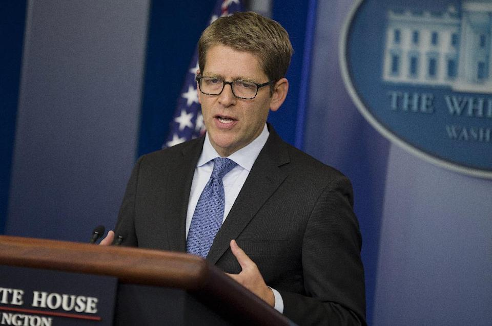 White House press secretary Jay Carney speaks during the daily press briefing at the White House in Washington, Monday, Dec. 16, 2013. Carney reiterated the position of the White House that there will be no amnesty for former NSA contractor Edward Snowden. (AP Photo/ Evan Vucci)