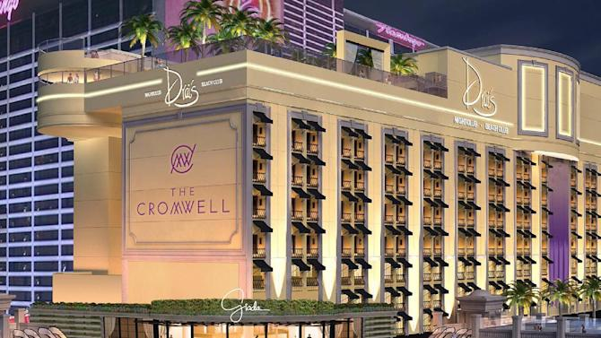 This artist rendering released by Caesars Entertainment Corp. shows what Caesars says it plans to replace the former Las Vegas' shuttered Bill's Gamblin' Hall & Saloon with, a swanky 188-room hotel renamed the Cromwell. The Old West-style casino closed last year and was to open as the Gansevoort, but Caesars ended its relationship with the Gansevoort Hotel Group in the fall after Massachusetts questioned the partnership. (AP Photo/Ceasars Entertainment Corp.)